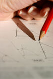 Geometry drawing. Drawing geometry lines and figures Royalty Free Stock Images