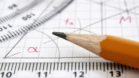 Geometry drawing detail. Macro photo of geometry drawing detail Stock Photography