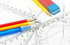 Geometry equipment for children Royalty Free Stock Photo