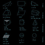 Geometry figures and formulas. On black Stock Images