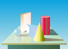 Geometry figures. With shadows on the table Stock Photos
