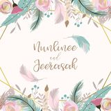 Geometry gold wedding invitation card with flower,leaf,ribbon,wreath,feather and frame on white background stock illustration