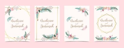 Geometry gold wedding invitation card with flower,leaf,ribbon,wreath,feather and frame on white background vector illustration