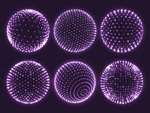 Geometry grid 3d sphere, atom orb, science chart of particles or virtual reality ball icon. Abstract spheres vector set. Geometry grid 3d sphere with light dots royalty free illustration