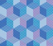 Geometry hexagon color seamless fabric sample. Stock Photography