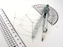 Geometry image with diagram & utensils Stock Photography
