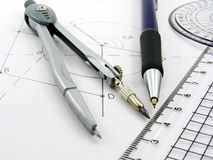 Geometry image with diagram & utensils Stock Image