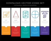 Geometry infographics design icon vector. 5 vector icons such as Geometry, Cone, Cylinder, Circle, 3d cube for infographic, layout, annual report, pixel perfect Royalty Free Stock Photo