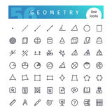 Geometry Line Icons Set. Set of 56 geometry line icons suitable for web, education and apps. Isolated on white background. Clipping paths included royalty free illustration