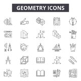 Geometry line icons for web and mobile design. Editable stroke signs. Geometry  outline concept illustrations stock illustration