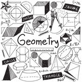Geometry math theory and mathematical formula doodle handwriting