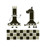 Geometry mosaic chess icons Stock Photography
