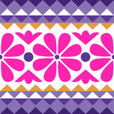 Geometry pattern with flowers Royalty Free Stock Photo