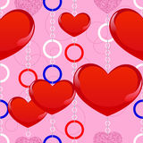 Geometry pattern with red hearts Royalty Free Stock Image