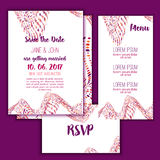 Geometry Save the Date card with modern colorful shapes. Wedding anniversary celebration party invitation design Stock Image