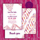 Geometry Save the Date card with modern colorful shapes. Wedding anniversary celebration party invitation design Stock Photography