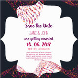 Geometry Save the Date card with modern colorful shapes. Wedding anniversary celebration party invitation design Royalty Free Stock Photography