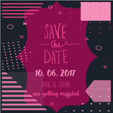 Geometry Save the Date card in modern 1980s with menu, Rsvp card. Wedding anniversary celebration party invitation Royalty Free Stock Image