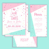Geometry Save the Date card in modern 1980s with menu, Rsvp card. Wedding anniversary celebration party invitation Royalty Free Stock Images
