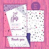Geometry Save the Date card in modern 1980s with thank you card. Wedding anniversary celebration party invitation design Royalty Free Stock Images
