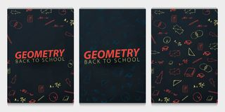 Geometry School subject with hand-draw doodles. Education banner. Vector illustration. royalty free illustration