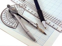 Geometry set on graph paper Stock Photo