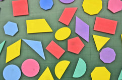 Geometry shapes. Geometry shape on green board closeup Stock Images