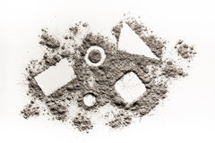 Geometry shapes square, triangle, circle in scattered dust, ash, Stock Image