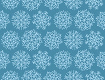 Geometry snowflake on winter gray sky background. Stock Photo