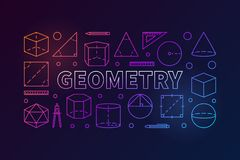 Geometry subject vector colorful illustration. Geometry subject vector colorful banner or illustration in thin line style on dark background Stock Images