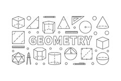 Geometry subject vector horizontal banner. Or illustration in thin line style on white background Royalty Free Stock Image