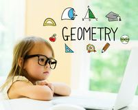Geometry text with little girl Royalty Free Stock Photography