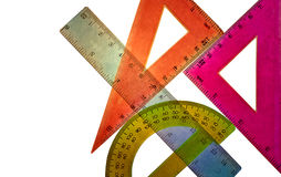 Geometry. Tools pupil geometry for drawing drawings and diagrams Stock Images