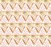 Geometry triangle pattern. gold stylized vector illustration. Royalty Free Stock Images