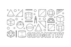Geometry vector concept line horizontal banner. Or illustration on white background Stock Images