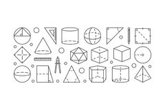 Geometry vector line horizontal illustration. Made with geometric shapes icons on white background Stock Photography