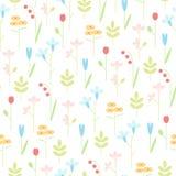 Geometryczna łąka kwitnie bezszwowego wektorowego tło Zdjęcia Royalty Free