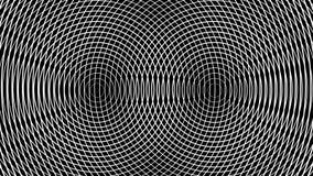 Geometryczna abstrakcja biel dzwoni poruszającego na czarnym tle ilustracji