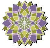 Geometryczna gwiazda - witraż w purpurach i zieleni Fotografia Stock