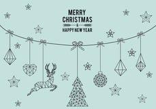 Geometryczna kartka bożonarodzeniowa, wektor Obrazy Royalty Free