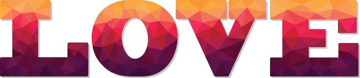 Geometryczna poligonalna koloru teksta miłość Fotografia Stock
