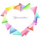 Geometryczna rama w postaci serca na jaskrawym trójboka tle Zdjęcia Royalty Free