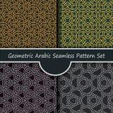 Geometrycznego arabskiego nasunięcia wzoru pobrudzony bezszwowy set Obrazy Royalty Free