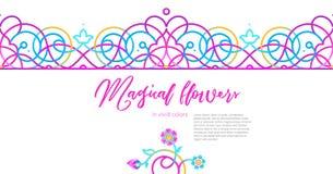 Geometrycznego zjadliwego neonowego koloru bezszwowa granica wschodni styl royalty ilustracja