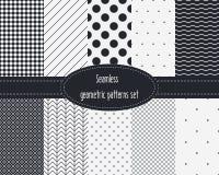 Geometryczni bezszwowi wzory ustawiający Ciemni i jasnopopielaci kolory czarny white Zdjęcia Stock
