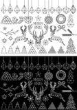 Geometryczni boże narodzenia, wektoru set ilustracji