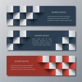 Geometryczni horyzontalni sztandary z 3D skutkiem dla biznesowej strony internetowej Obraz Stock