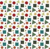 Geometryczni kształty na białego tła wektorowym bezszwowym wzorze Obrazy Royalty Free