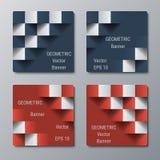 Geometryczni kwadratowi sztandary z 3D skutkiem dla biznesowej strony internetowej Obraz Stock