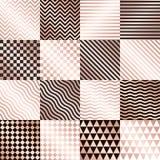 Geometryczni różani złociści tła ustawiający wektor Zdjęcia Stock